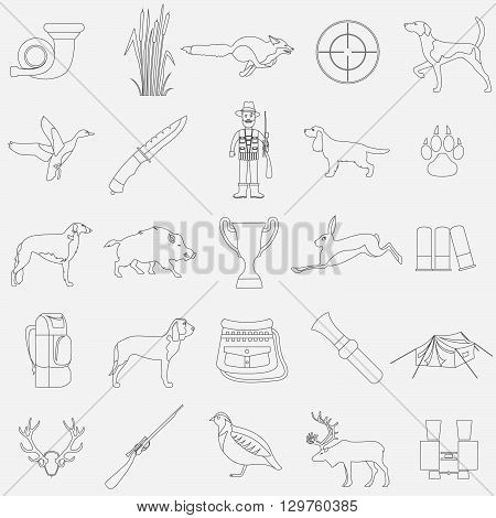 Hunting icon set. Dog hunting, equipment. Flat style. Vector illustration
