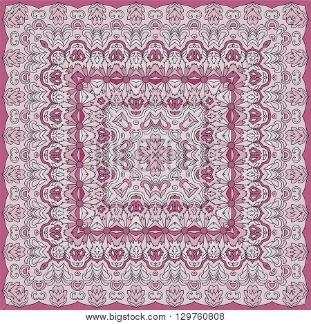 Elegant square floral paisley pattern. Can be used to design pillows, scarves, neckerchief, bandanna, cushion.