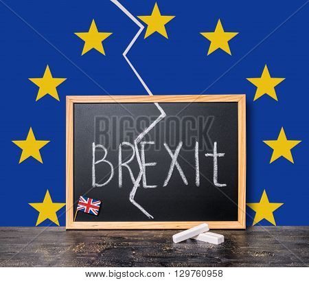Brexit Uk Eu Referendum Concept Cut Great Britain Apart From Rest Of European Union With Flags And H