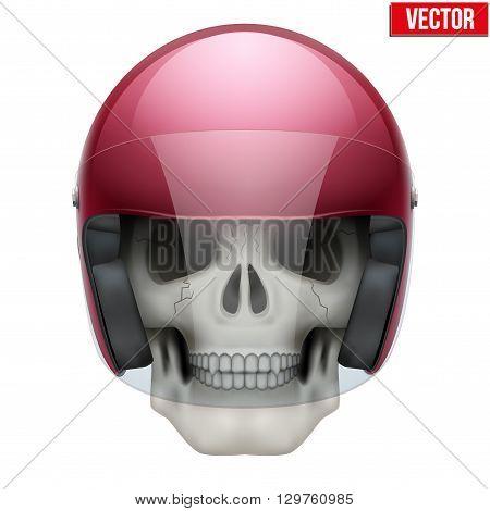 Human skull with retro motor biker helmet. Vector Illustration on isolated white background