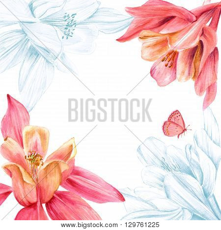 A greeting card (or an invitation) design template with a place for text with watercolor and pencil drawings of tender fuchsia flowers with a little butterfly