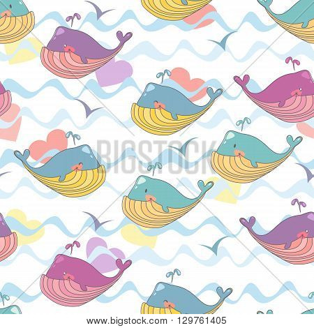 Vector illustration of a cheerful waterfowl gull. Seamless childrens background of marine whales.