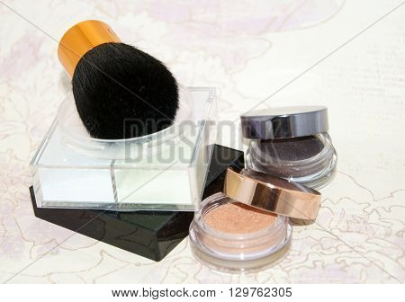 Basic Make-up Products. Powder And Eyeshadow