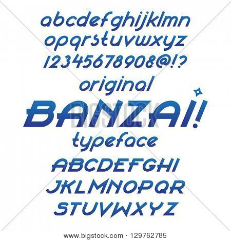 Banzai typeface. Custom italic letters. Blue gradient color font, numbers and symbols. Flat calligraphic feather style. Vector sans-serif alphabet