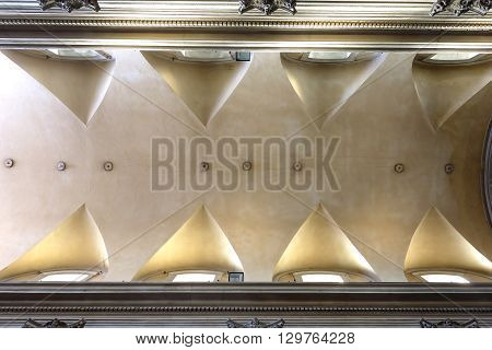 ROME ITALY - MAY 1 2016: Ceiling in the Santa Maria della Consolazione Roman Catholic church in rione Campitelli at the foot of the Palatine Hill