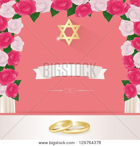 Jewish wedding elements for invitation design under the chuppah.