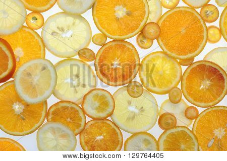 Fruit citrus background with orange tangerine lemon and kumquat