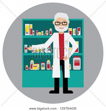 Male pharmacist in a pharmacy opposite the shelves with medicines. Health care. Flat Vector illustration.