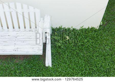 Wooden Bench Seat In Home Garden