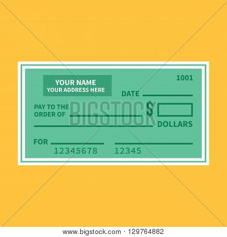 Vector bank check template. Bank cheque with empty fields flat design vector illustration isolated on yellow background