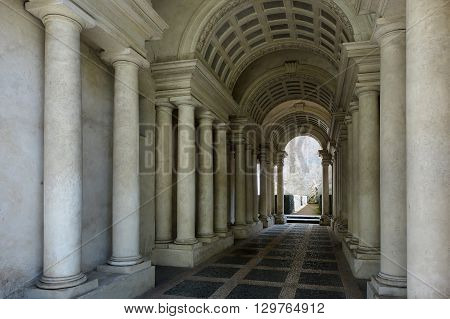 ROME ITALY - MAY 1 2016: Palazzo Spada the forced perspective gallery by Francesco Borromini. The baroque corridor is only nine metres long but looks much longer