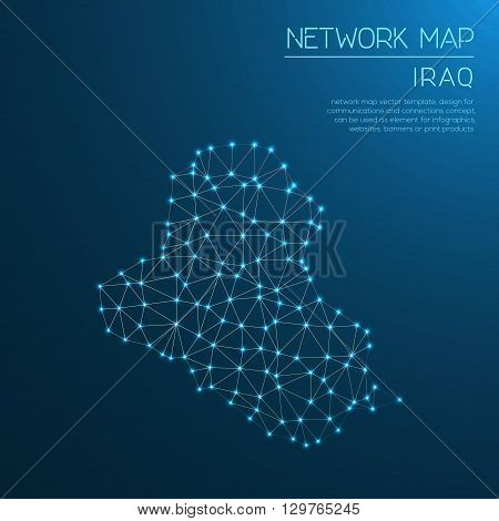 Iraq Network Map. Abstract Polygonal Map Design. Internet Connections Vector Illustration.