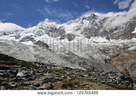 Fee Glacier in the Pennine Alps. Switzerland