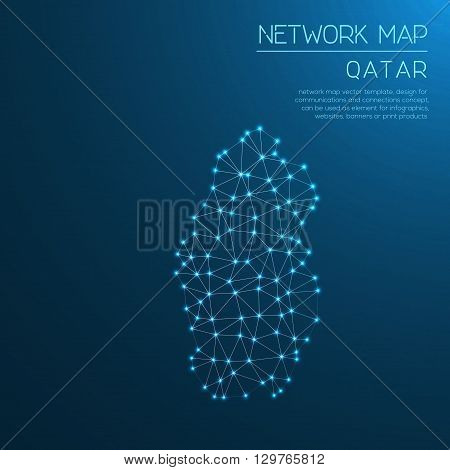 Qatar Network Map. Abstract Polygonal Map Design. Internet Connections Vector Illustration.