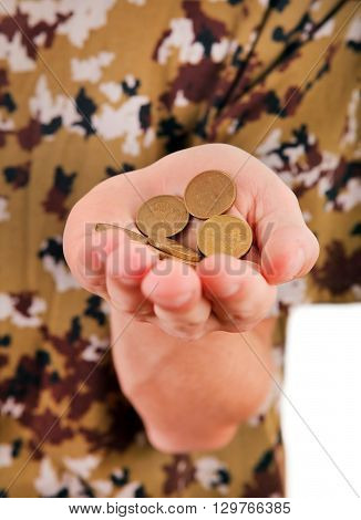 The Russian Coins in the Hand closeup