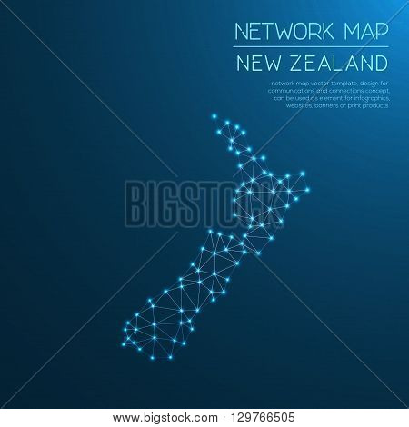New Zealand Network Map. Abstract Polygonal Map Design. Internet Connections Vector Illustration.