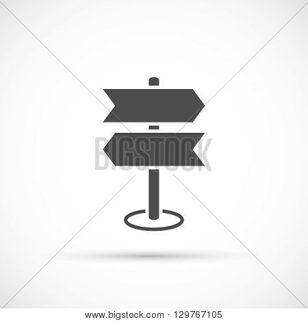 Road sing post icon. Crossroad vector sing direction