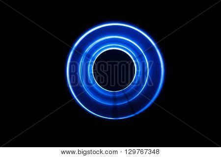 Sound waves in the visible blue color in the dark
