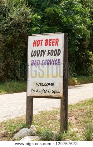 DE VLUGT SOUTH AFRICA - MARCH 5 2016: A funny sign at a well known landmark on the Prince Alfred Pass Angies G-spot (short for Angies Great Spot) which offers a restaurant and accommodation