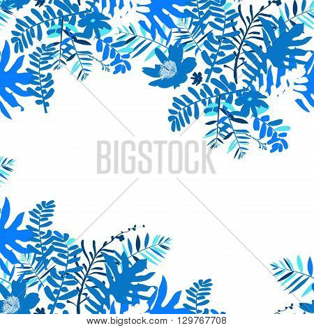 Vector illustration with leafs and foliage inspired by tropical nature and plants like palm tree and ferns in multiple blue colors. Card template with floral design, exotic flowers, leafs and branches
