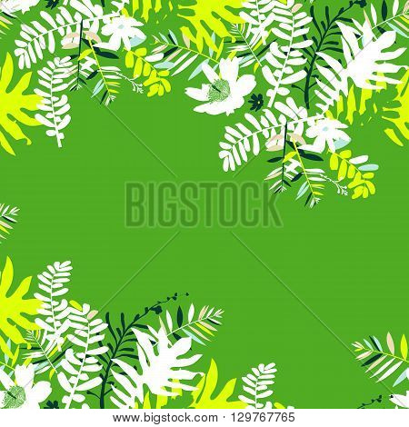 Vector illustration with leafs and foliage inspired by tropical nature and plants like palm tree and ferns in bright green colors. Card template with floral design, exotic flowers, leafs and branches