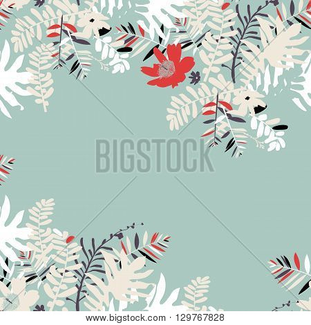 Vector illustration with leafs and foliage inspired by tropical nature and plants like palm tree and ferns in vintage colors. Card template with floral design, exotic flowers, leafs and branches