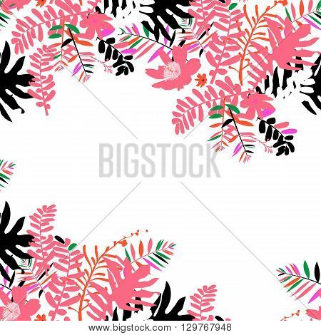 Vector illustration with leafs and foliage inspired by tropical nature and plants like palm tree and ferns in bright pink colors. Card template with floral design, exotic flowers, leafs and branches