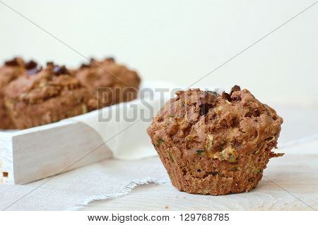 Chocolate Muffins On The White And Pink Background