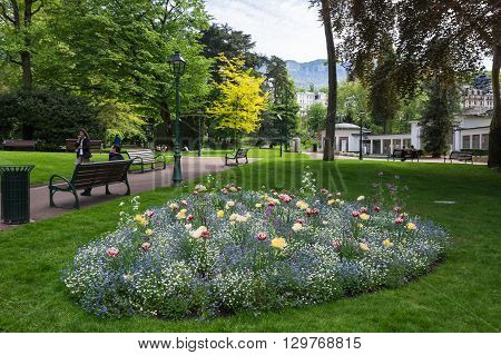 AIX-LES-BAINS FRANCE - 30 APRIL 2015: Park of french resort Aix-Les-Bains one of the important French spa towns that has the largest fresh water marina in France