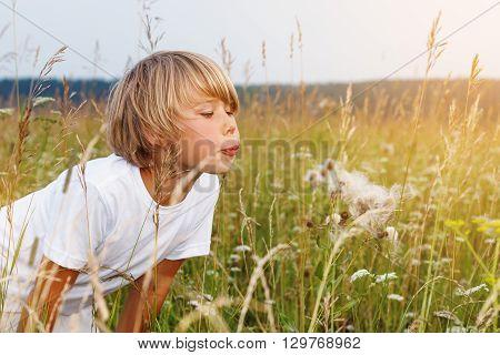 Happy boy blowing on a dandelion in the summer field .