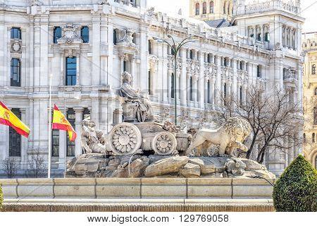 Cibeles Fountain At Plaza De Cibeles In Madrid In A Beautiful Day, Spain