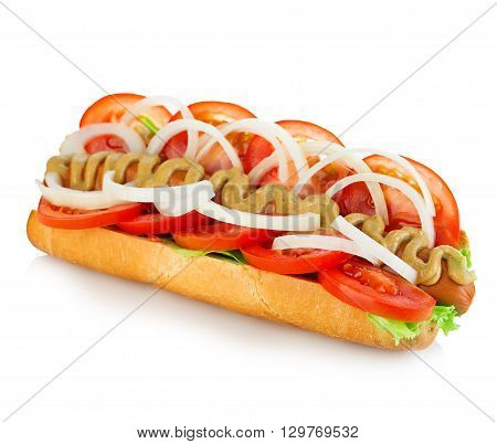American Style Hot Dog With Lettuce, Onion And Tomato Close-up On White Background. Fast Food.