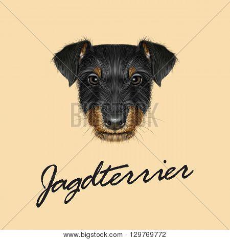 Vector Illustrated Portrait of Jagdterrier dog. Cute black face of domestic dog on beige background.