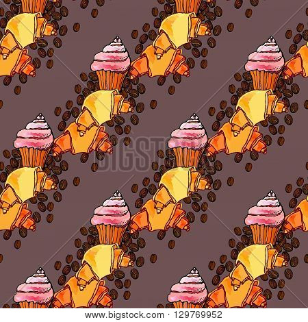Cupcake, croissant and coffee beans design vector seamless pattern background. For cafeteria bakehouse, restaurant interior design, fabric packaging, wrapping paper, menu, coffee shop.