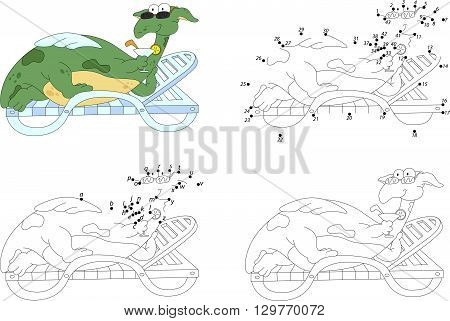 Cartoon Dragon Lies On A Lounger And Drinks A Cocktail. Coloring Book And Dot To Dot Game For Kids