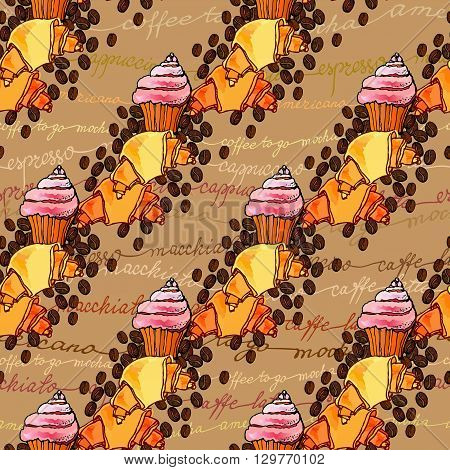 Seamless pattern background. Cup cake, croissant, coffee beans and coffee calligraphy. For cafeteria bakehouse, restaurant interior design, fabric packaging, wrapping paper, menu, coffee shop.
