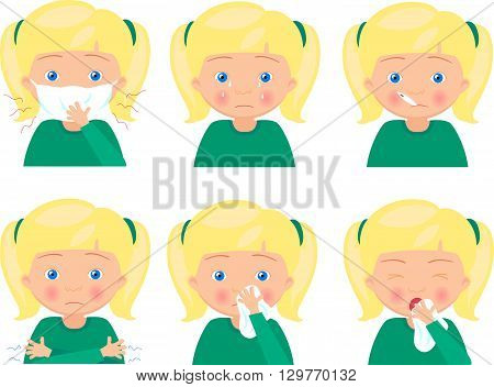 Blond Sick Girl With Flu Mask, Thermometer And Handkerchief