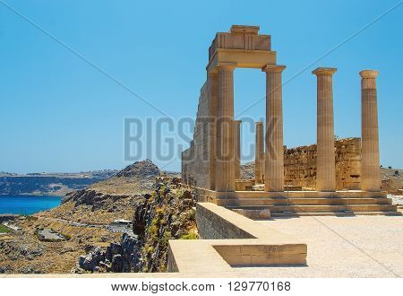 Picturesque view of Lindos St.Pauls Bay Acropolis, Rhodes, Greece