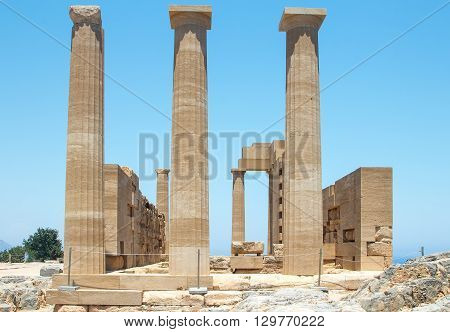 Ancient Temple on The Beach of Greek Island of Rhodes