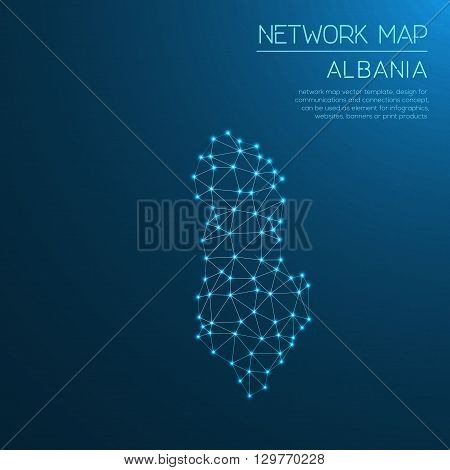 Albania Network Map. Abstract Polygonal Map Design. Internet Connections Vector Illustration.