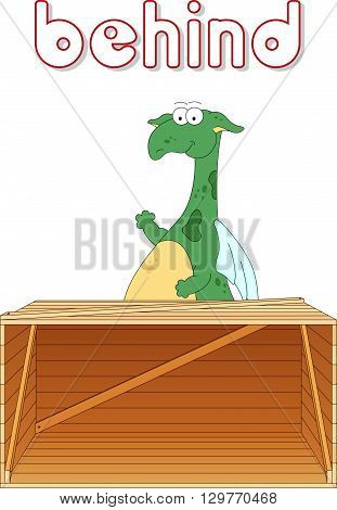 Cartoon Dragon Stands Behind The Box. English Grammar In Pictures