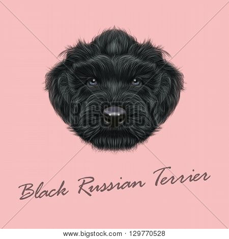Vector Illustrated Portrait of Black Russian Terrier dog. Cute black curly face of a puppy on pink background.