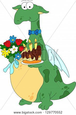 Cartoon Dragon With The Birthday Cake And Flowers