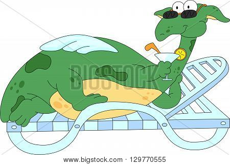 Cartoon Dragon Lying On A Lounger And Drinking A Cocktail