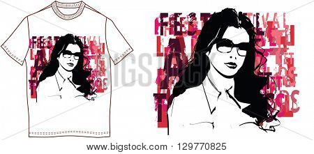 T-shirt with a woman face - vector illustration