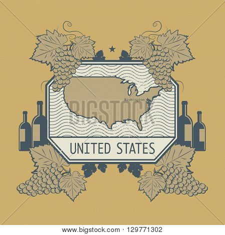 Vintage wine label with USA map, vector illustration