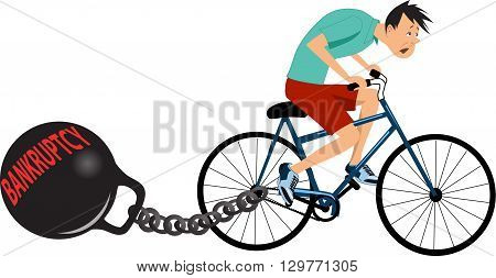 Exhausted man riding a bicycle with a huge kettle-bell signed