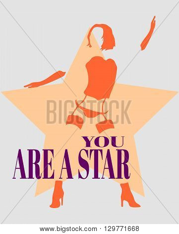 Sexy woman silhouette underwear fashion. Woman underwear. You are star text