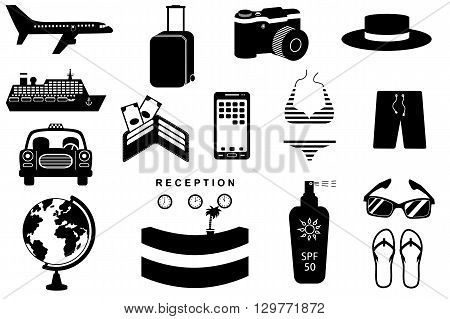 Travel icons set. Silhouettes of luggage globe and transport. Black and white vector illustration.