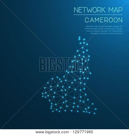 Cameroon Network Map. Abstract Polygonal Map Design. Internet Connections Vector Illustration.